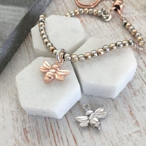 Rose Gold & Sterling Silver Slider Bracelet With Rose Coloured Bee