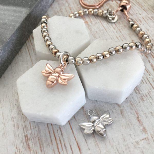 Rose Gold & Sterling Silver Slider Bracelet With Rose Coloured Bee