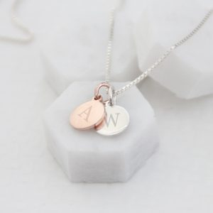 Rose Gold & Sterling Silver Initial Duo Disc Necklace