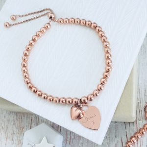 Rose Gold Vermeil Ball Slider Bracelet With Engraved Handwriting Charm