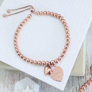 Rose Gold Vermeil Ball Slider Bracelet With Engraved Handwriting Charm