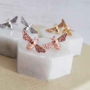 Rose Gold Vermeil Bumble Bee Earrings