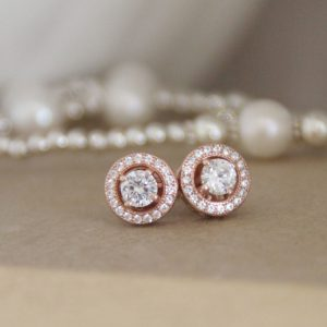 Rose Gold Vermeil & CZ Halo Earrings