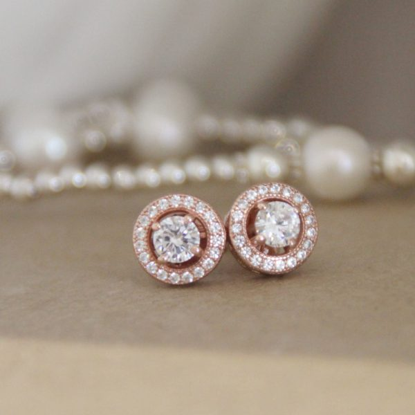 Rose Gold Vermeil & CZ Halo Earrings