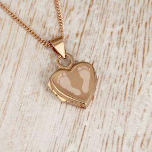 Rose Gold Vermeil Engraved Double Footprint Heart Locket