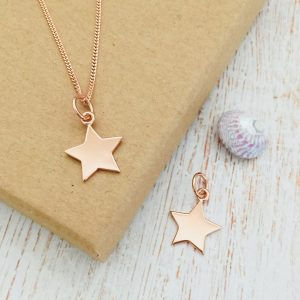 Rose Gold Vermeil Engraved Initial Star Necklace
