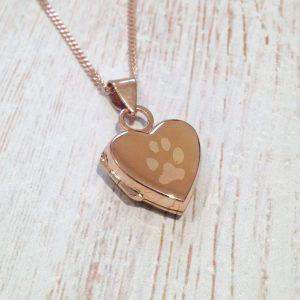 Rose Gold Vermeil Engraved Pawprint Heart Locket