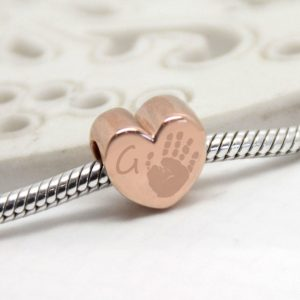 Rose Gold Vermeil Handprint with Initial Bead