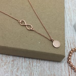 Rose Gold Vermeil Infinity Necklace With Initial Disc