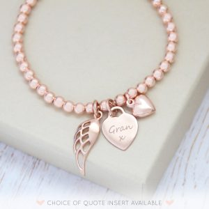 Rose Gold Vermeil Memorial Bracelet with Engraved Heart