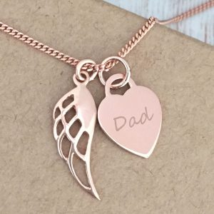 Rose Gold Vermeil Memorial Necklace with Quote
