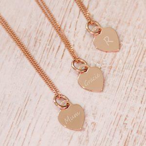 Rose Gold Vermeil Mini Engraved Heart Necklace