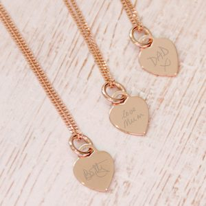 Rose Gold Vermeil Mini Heart Necklace With Handwriting