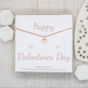 Rose Gold Vermeil & Pavé CZ Gift Set – 'Happy Valentines Day'
