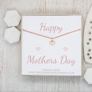Rose Gold Vermeil & Pavé CZ Gift Set - 'Happy Mothers Day'