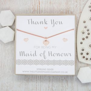 Rose Gold Vermeil & Pavé CZ Gift Set - 'Thank You For Being My Maid Of Honour'