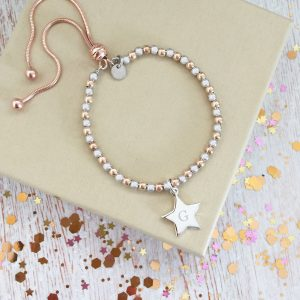 Rose Gold Vermeil & Sterling Silver Mini Star Initial Bracelet