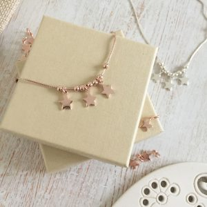 Rose Gold Vermeil Trio Star Anklet