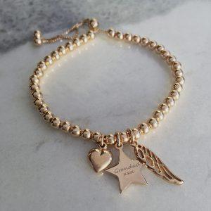 Rose Gold Vermeil Engraved Memorial Bracelet With Star Charm