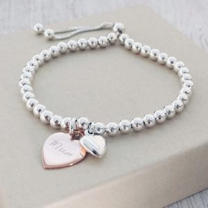 Silver Ball Slider Bracelet With Puffed Heart & Rose Gold Handwriting Charm