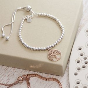 Silver Ball Slider Bracelet With Rose Gold Tree of Life Charm