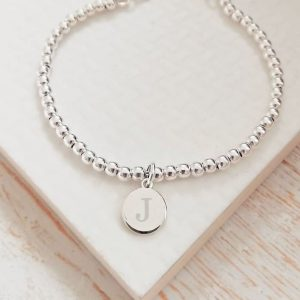 Silver Ball Slider Bracelet With Silver Initial Disc