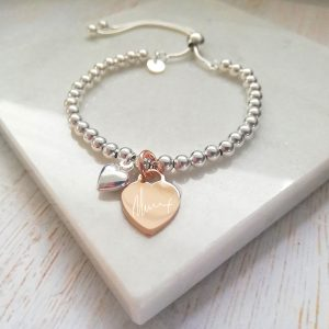 Sterling Silver Ball Slider Bracelet - With Handwriting Rose Gold Heart Charm