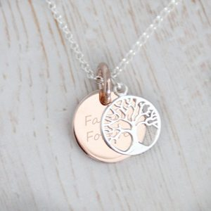 Sterling Silver & Rose Gold Engraved Family Tree of Life Necklace