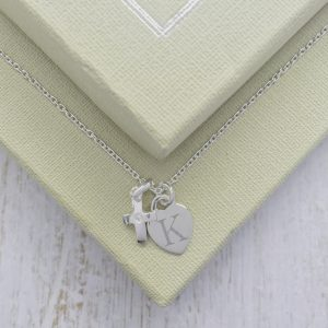 Sterling Silver Junior Crucifix Necklace With Engraved Dinky Heart Charm