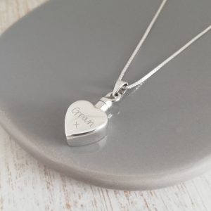 Small Sterling Silver Heart Urn Necklace With Handwriting