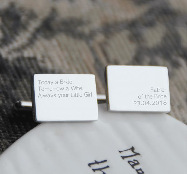 Stainless Steel 'Always Your Little Girl' Engraved Cufflinks