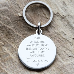 Stainless Steel Engraved 'I Love You Dad' Quote Keyring