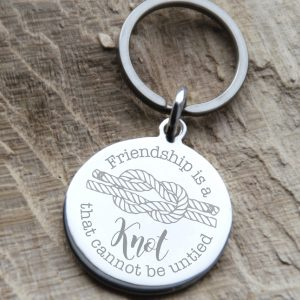 Stainless Steel Engraved 'Friendship Is A Knot' Keyring