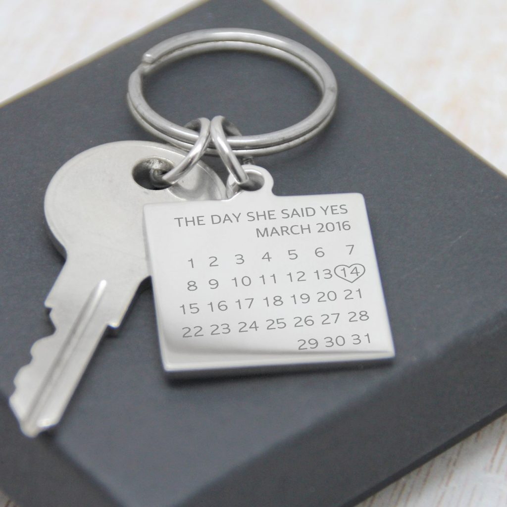 Stainless Steel Engraved 'On This Day' Keyring