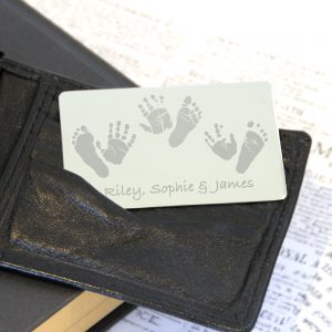 Stainless Steel Engraved Wallet Card with Prints (3 Children – 2 Prints Each)