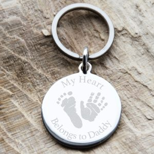 Stainless Steel 'My Heart Belongs To Daddy' Engraved Keyring