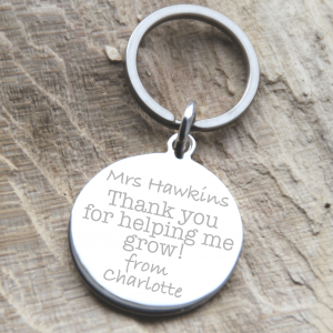 Stainless Steel Teacher Quote Keyring 'Thank You For Helping Me Grow'