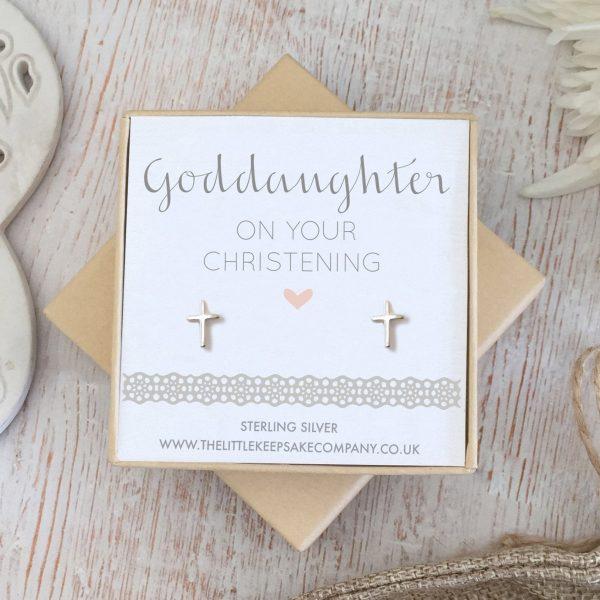 Sterling Silver 'Goddaughter, On Your Christening' Earrings