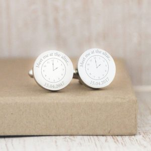 Sterling Silver 'A Moment In Time' Cufflinks