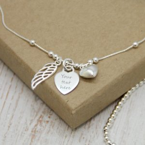 Sterling Silver Angel Wing Anklet With Engraved Heart