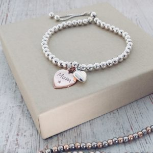 Sterling Silver Ball Slider Bracelet – With Engraved Rose Gold Heart Charm