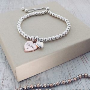 Sterling Silver Ball Slider Bracelet With Puffed Heart & Rose Gold Vermeil Engraved Charm