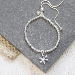 Sterling Silver Ball Slider Bracelet With Sparkly Snowflake