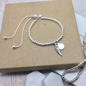 Sterling Silver Ball Slider Bracelet With Angel Wing & Mini Disc
