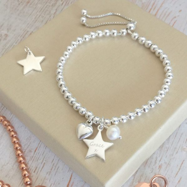 Sterling Silver Ball Slider Bracelet with Star Charm and Pearl