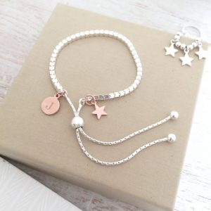 Sterling Silver Box Slider Bracelet With Rose Gold Mini Star