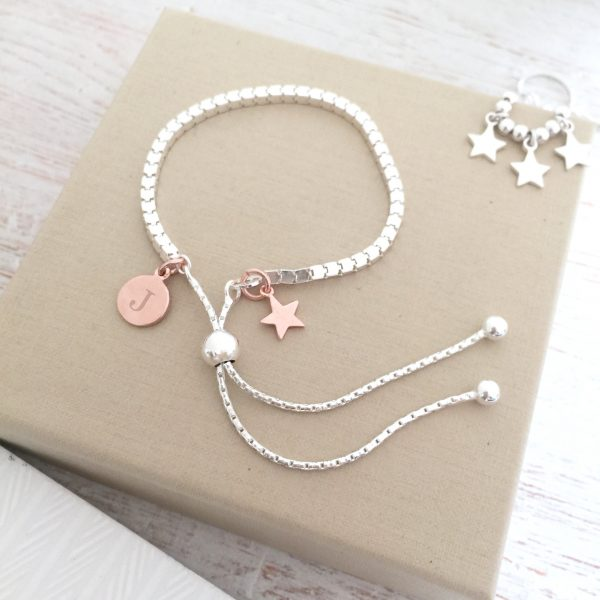 Sterling Silver Box Slider Bracelet With Rose Gold Mini Star