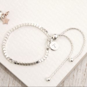 Sterling Silver Box Slider Bracelet with Initial Tag