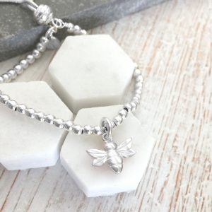 Sterling Silver Bracelet With Silver Honey Bee