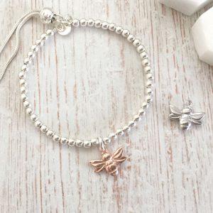 Sterling Silver Bracelet with Rose Gold Vermeil Honey Bee
